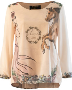 Ascot blouse with plisse back