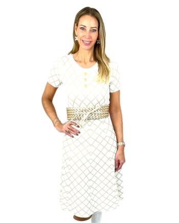 gebreide jurk met korte mouw en lurex patroon