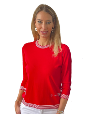 pullover in rood/marine , wit