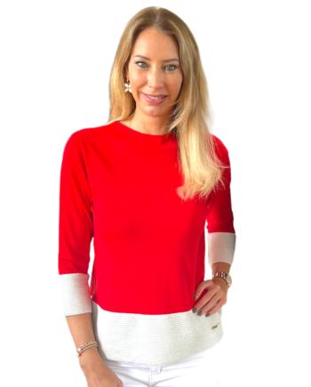 rode pullover met witte rand