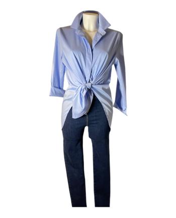 lichtblauw katoenen blouse