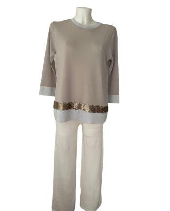 beige wit pullover
