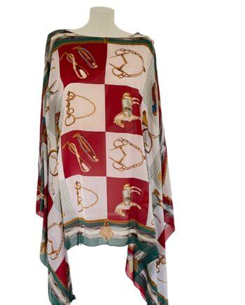 zijde kaftan met naustische print